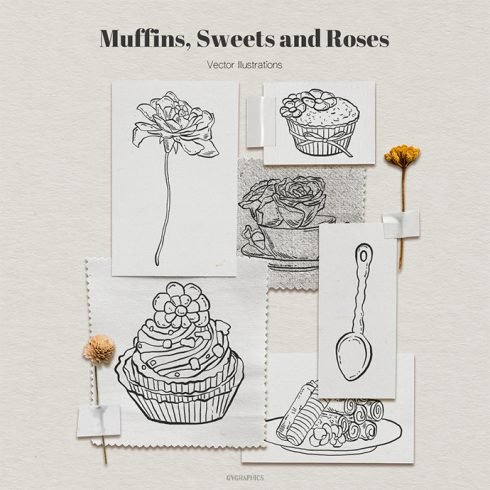 Muffins, Sweets and Roses Vector Illustrations main cover.
