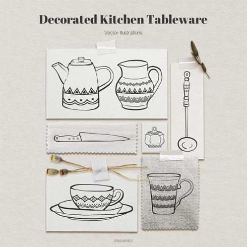 Decorated Kitchen Tableware Vector Illustrations main cover.