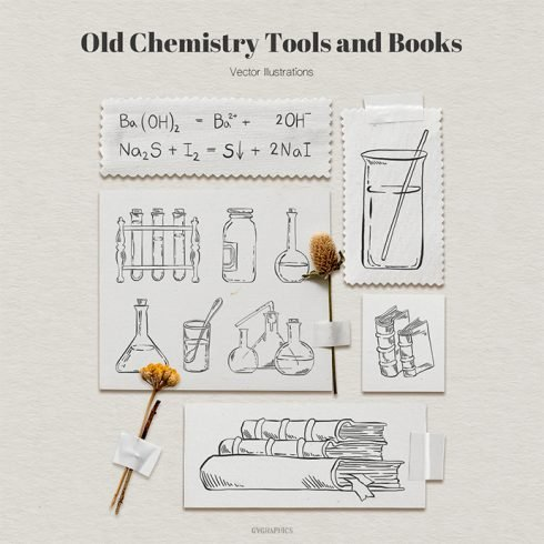 Old Chemistry Tools and Books Vector Illustrations main cover.