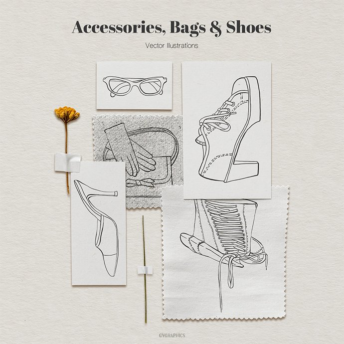 Accessories, Bags and Shoes Vector Illustrations main cover.