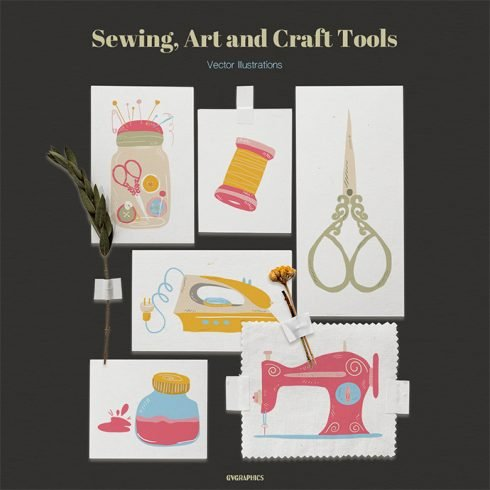 Sewing, Art and Craft Tools Vector Illustrations main cover.