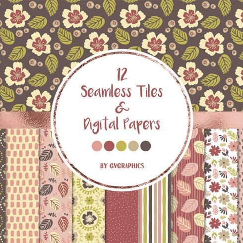 Flowers, Leaves and Spots Seamless Tiles and Digital Papers Example.