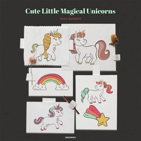 Cute Little Magical Unicorns Vector Illustrations main cover.