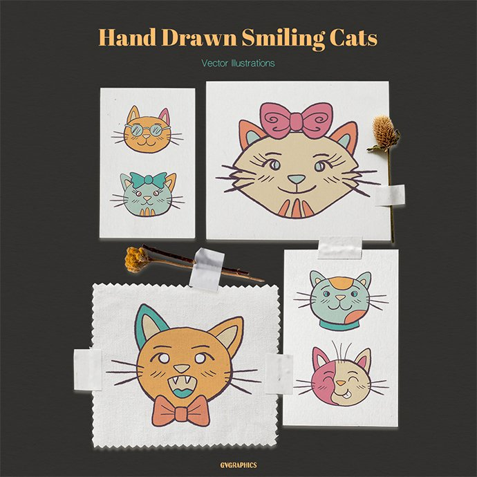 Hand Drawn Smiling Cats Vector Illustrations main cover.