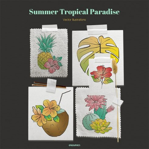 Summer Tropical Paradise Vector Illustrations main cover.