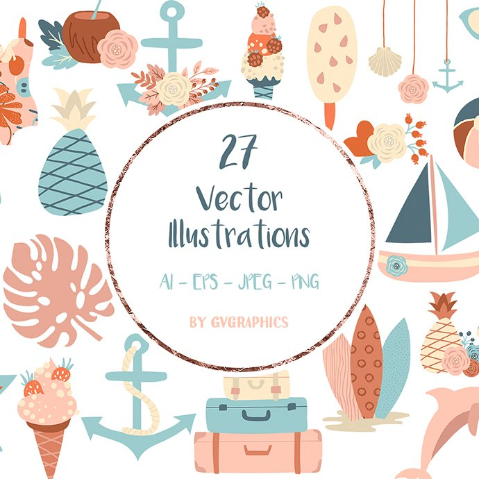 Vacation Beach Objects, Set of Summer Vector Illustrations main cover.