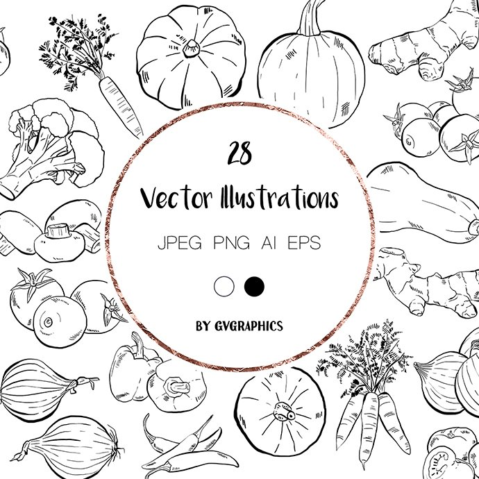 Hand Drawn Vegetables Vector Illustrations main cover.