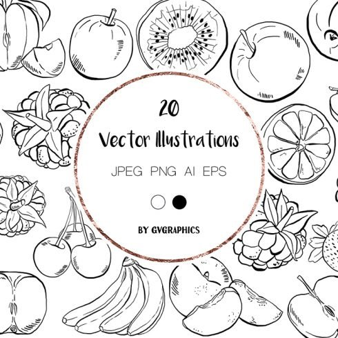 Hand Drawn Fruits Illustrations in bBlack and White main cover.