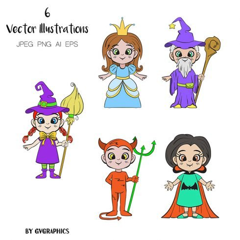 Hand Drawn Halloween Characters Vector Illustrations main cover.