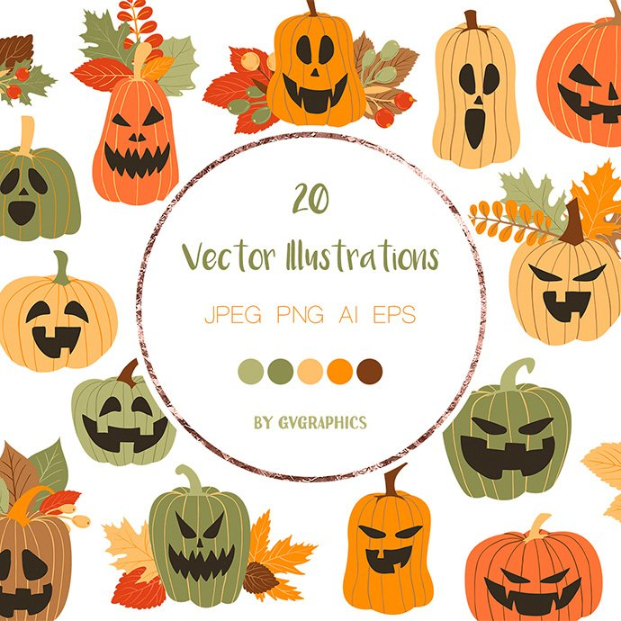Halloween Pumpkins and Fall Leaves Vector Illustrations main cover.