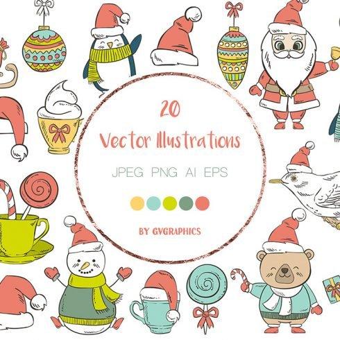 Christmas Animals, Snowmans, Santas and Elements main cover.