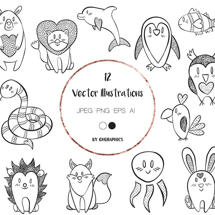 Valentine's Day Animals Hand Drawn Vector Illustrations main cover.