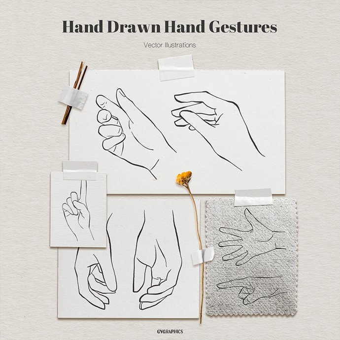 Hand Drawn Hand Gestures Vector Illustrations main cover.