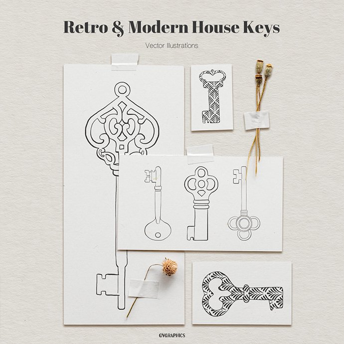 Retro and Modern House Keys Vector Illustrations main cover.
