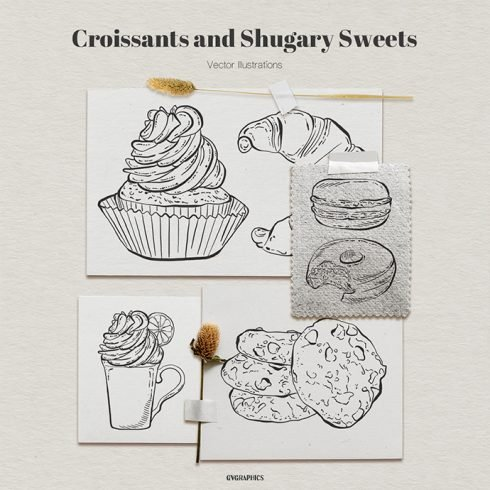 Croissants and Sugary Sweets Vector Illustrations main cover.
