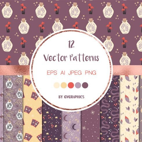 Ancient Magic Vector Patterns with Love Potions, Tarot Cards and Stars main cover.