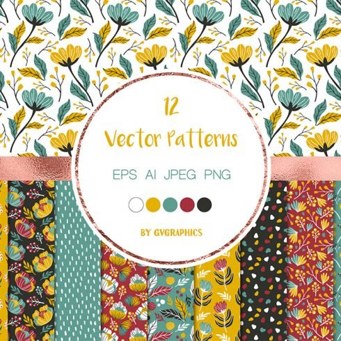 Colorful Vector Patterns with Flowers, Leaves and Berries main cover.
