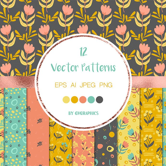 Seamless Floral Patterns with Doodles, Vector Backgrounds main cover.
