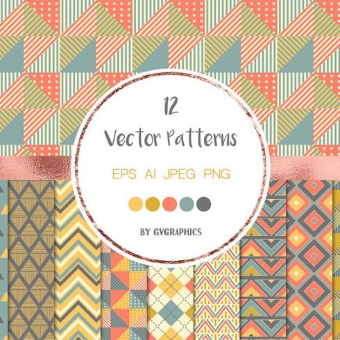 Geometric Seamless Patterns, Colorful Triangles and Chevron Backgrounds main cover.