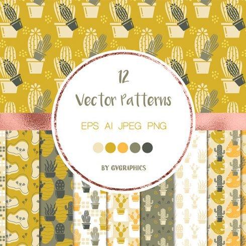 Desert Cacti Seamless Vector Patterns main cover.