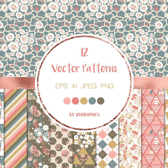 Abstract Flowers and Geometric Shapes, Vector Seamless Patterns main cover.