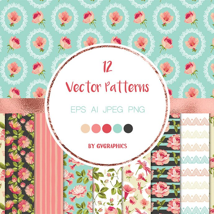 Elegant Pink Flowers Vector Seamless Patterns main cover.