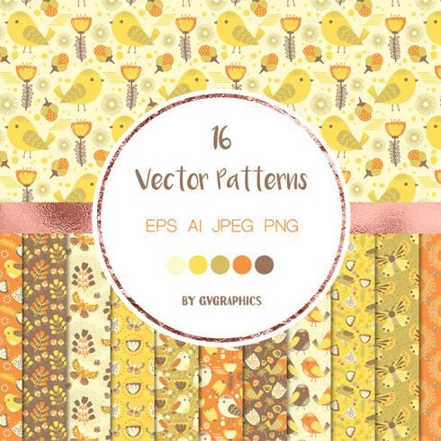 Bright Flowers and Birds Vector Patterns main cover.