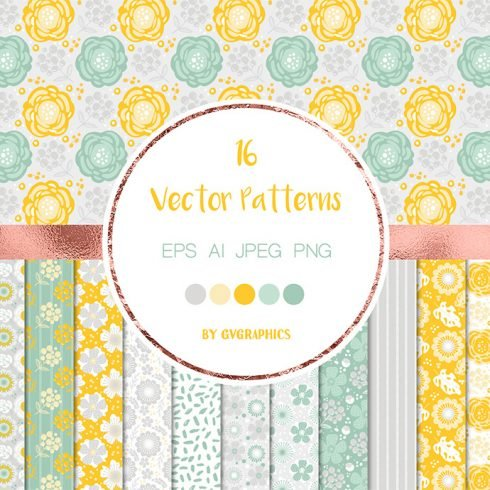 Gray, Yellow and Green Nature Vector Patterns main cover.