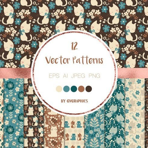 Cats and Flowers Vector Patterns main cover.