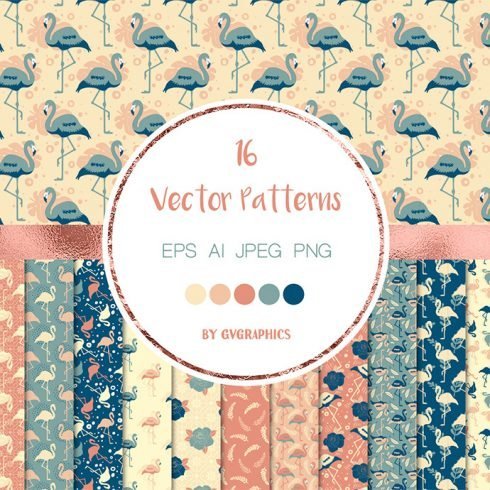 Flamingos, Palm Leaves and Flowers Vector Patterns main cover.