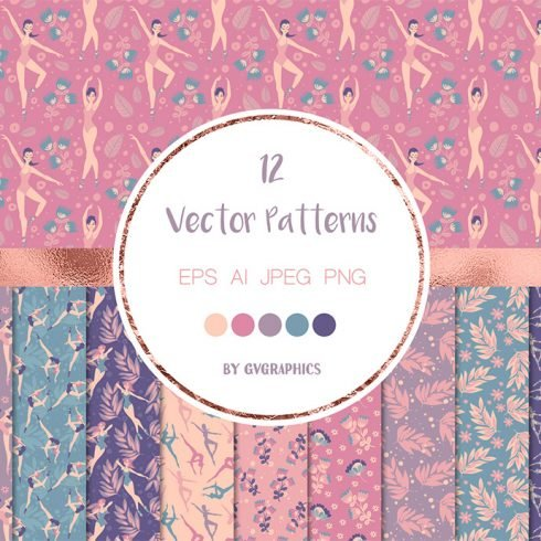 Pretty Ballerinas Vector Patterns main cover.