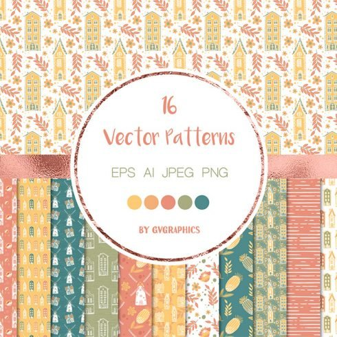 Spring House Vector Patterns main cover.