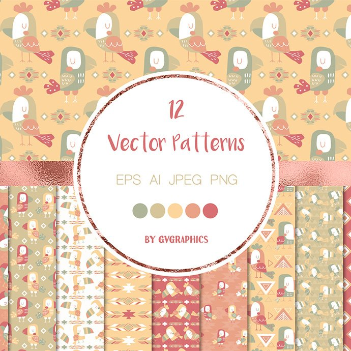 Folk Toco Toucan Birds Vector Patterns and Seamless Tiles main cover.
