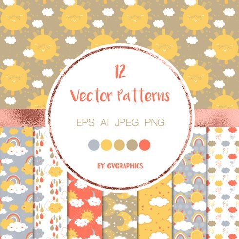 Sun, Clouds and Rain Vector Patterns main cover.