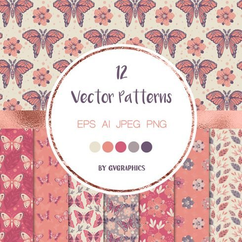 The Butterfly Garden Colorful Vector Patterns and Tiles main cover.