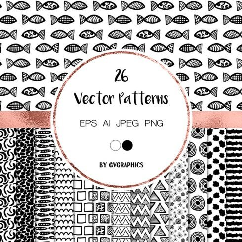 Hand Drawn Modern Doodles Vector Patterns main cover.