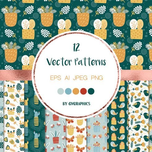 Spring Flowers and Birds Vector Patterns and Tiles main cover.