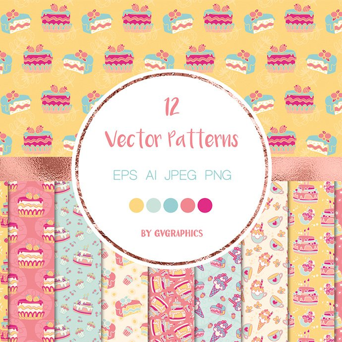 Birthday Cake Vector Patterns main cover.