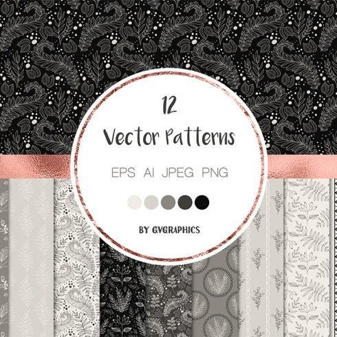 Elegant Monochrome Nature Vector Patterns cover image.
