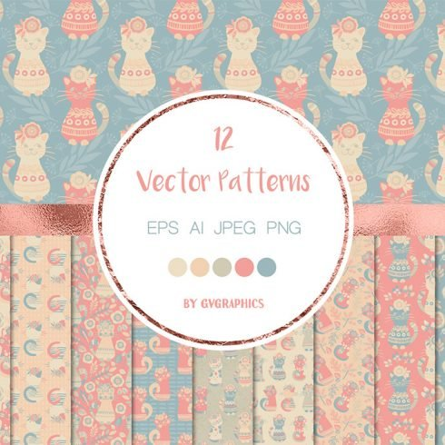 Colorful Cats and Flowers Vector Patterns main cover.