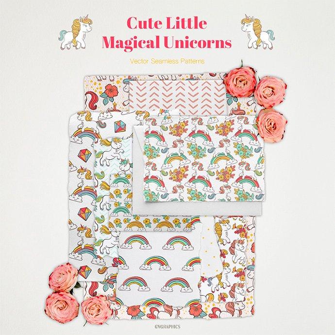Cute Little Magical Unicorns Vector Patterns main cover.