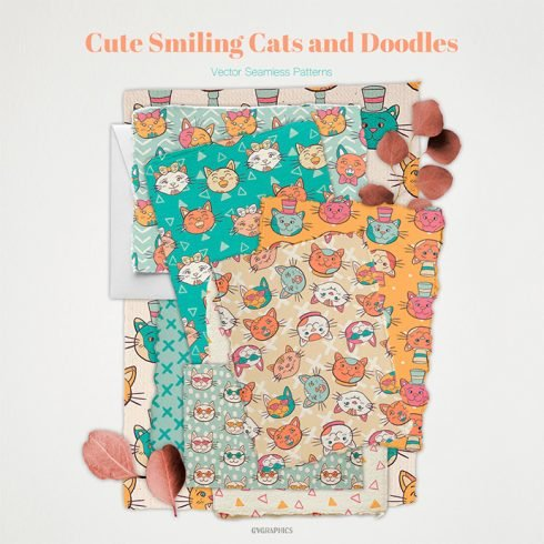 Cute Smiling Cats and Doodles Vector Patterns main cover.