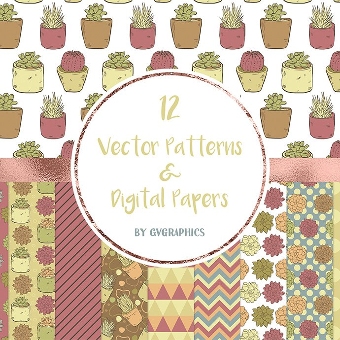 Vector Succulents, Cacti and Doodles Patterns main cover.