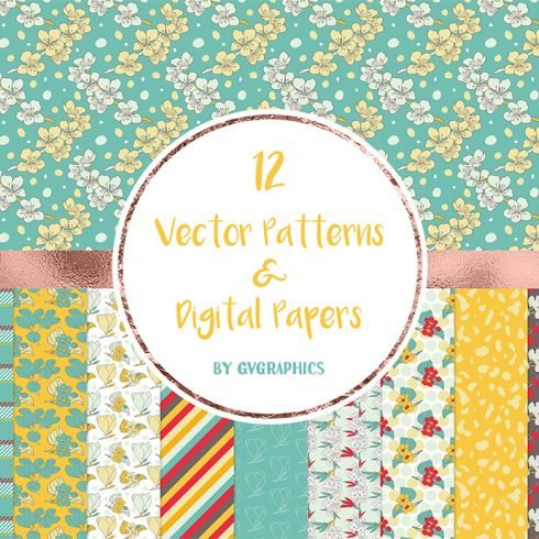 Vector Spring Flowers and Leaves Patterns and Digital Papers main cover.