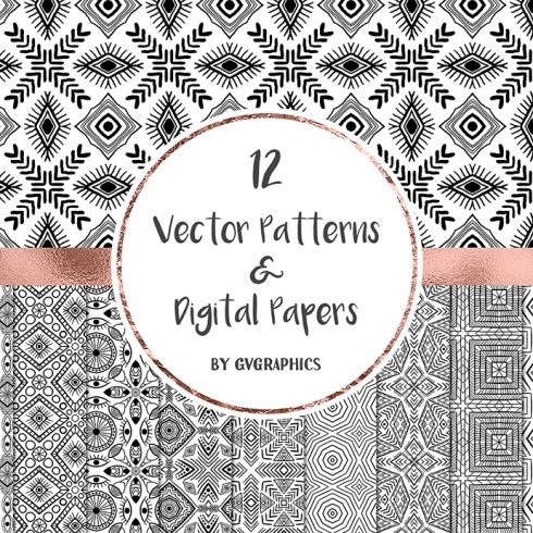 Black and White Vector Patterns and Digital Papers Set 1 main cover.