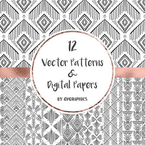 Hand Drawn Black and White Vector Patterns and Digital Papers Set 2 main cover.