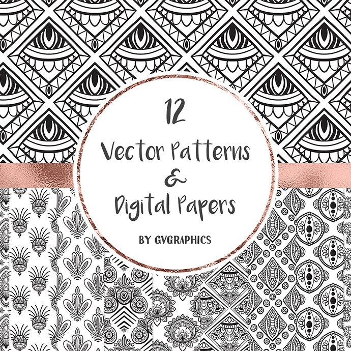 Hand Drawn Black and White Vector Patterns main cover.