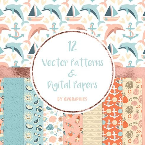 Vector Summer Patterns and Digital Papers main cover.