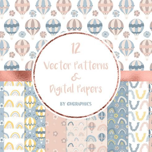 Vector Rainbows and Air Balloons Patterns and Digital Papers main cover.