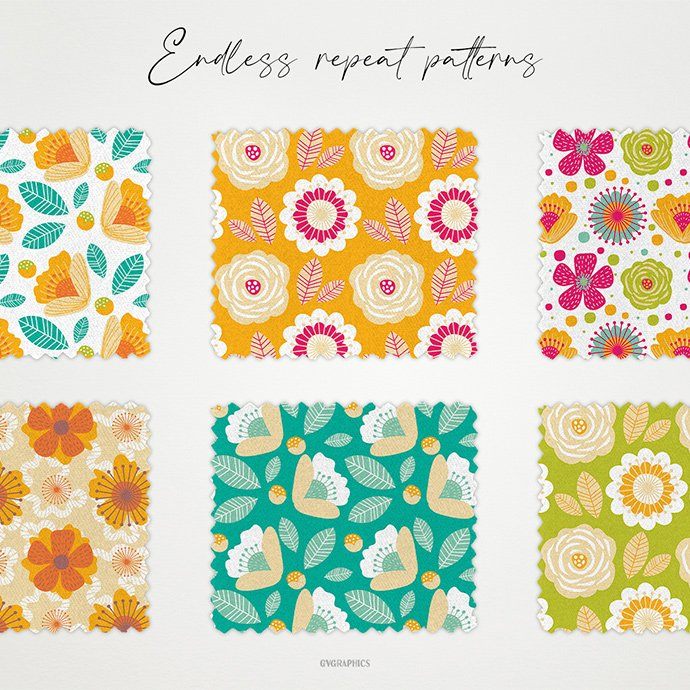 Wild Flowers and Berries Vector Patterns cover image.